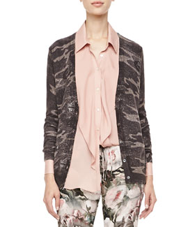 Haute Hippie Abstract Camo-Printed Glittery Cardigan