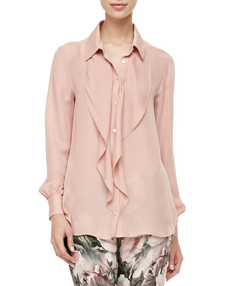 Ruffled Front Silk Blouse, Rouge