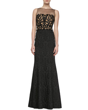 Sleeveless Lace Illusion Bodice Gown