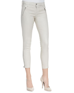 J Brand Jeans Carey Lacquered Coated Moto Pants, Chalk