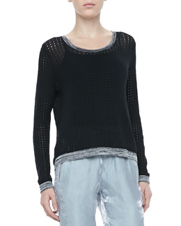 Rag & Bone Ariana Perforated Split-Back Pullover