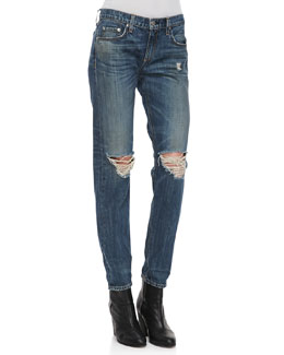 rag & bone/JEAN Boyfriend Buckley Ripped-Knee Jeans