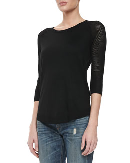 rag & bone/JEAN Lexie Perforated 3/4-Sleeve Sweater