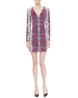 Diane von Furstenberg Reina Long-Sleeve Python Pop Dress