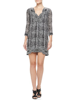 Diane von Furstenberg Lexie Printed Scallop-Neck Dress, Black/Gray/White