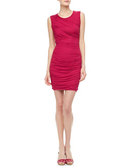 Diane von Furstenberg Angelina Short-Sleeve Ruched Dress, Pink