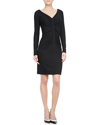 Greece Long-Sleeve Ruched Dress