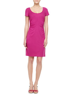 Diane von Furstenberg Bally Short Sleeve Ruched Dress