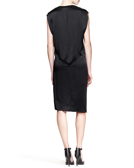 Quantum Bicolor Cap-Sleeve Dress
