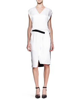 Helmut Lang Quantum Bicolor Cap-Sleeve Dress
