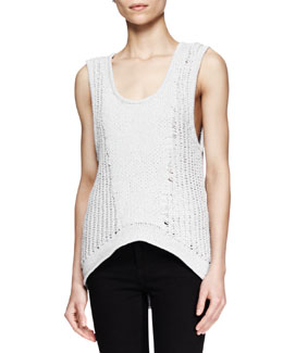 Helmut Lang Sleeveless Arced Knit Top