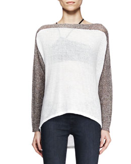 Helmut Lang Colorblock High-Low Pullover