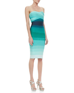 Herve Leger Ombre Strapless Bandage Dress