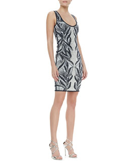 Herve Leger Printed Rhinestone-Center Knit Dress