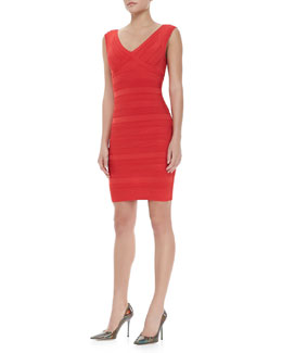 Herve Leger Patterned V-Neck Bandage Dress, Coral Poppy