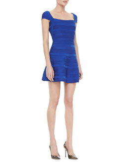 Herve Leger Patterned A-Line Bandage Dress