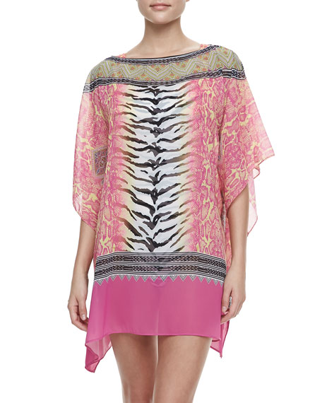 Bohemian Mixed-Print Tunic Coverup