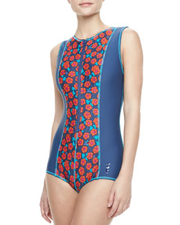 MARC by Marc Jacobs Maysie Floral-Print Scuba Zip Maillot