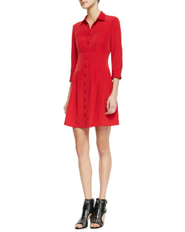 Nanette Lepore Rendezvous Pleated Button-Front Shirtdress