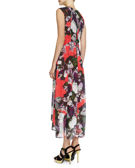 Scarlet Nights Floral-Print High-Low Dress