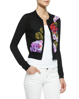 Nanette Lepore True Love Patterned Zip Cardigan