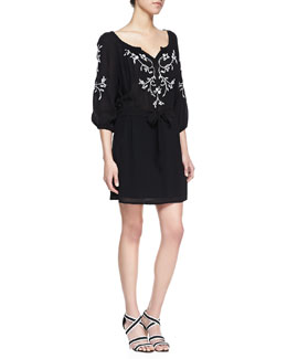 Nanette Lepore Tough Love Embroidered Voile Dress