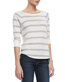 Joie Adelynn Striped Linen Sweater