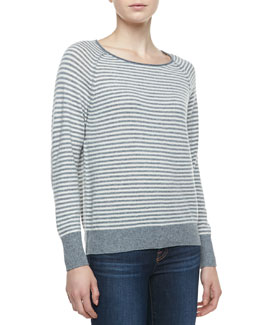 Joie Tiani Wool-Cashmere Striped Knit Sweater