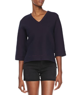 J Brand Ready to Wear Ochoa Boxy Fleece Sweatshirt