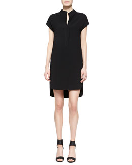 Vince Half-Placket High-Low Dress
