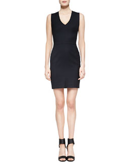 Vince Fitted V-Neck Dress, Coastal