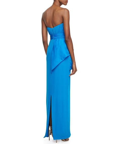 Strapless Bow-Waist Column Gown