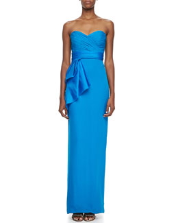 Notte by Marchesa Strapless Bow-Waist Column Gown