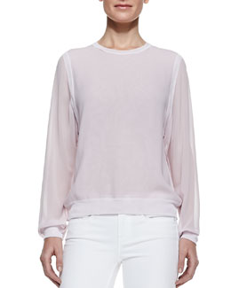 Vince Silk/Rayon Sheer-Sleeve Sweatshirt