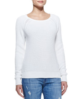 Vince Raglan-Sleeve Knit Sweater, White