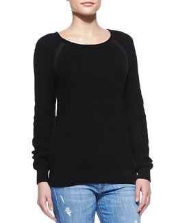 Vince Suspension Raglan-Sleeve Knit Sweater, Black