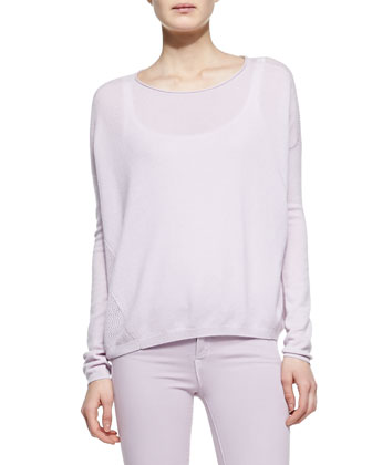 Cashmere Perforated-Back Sweater, Wisteria