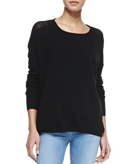 Vince Cashmere Perforated-Back Sweater, Black