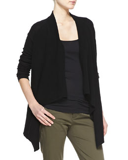 Vince Ribbed Cashmere Draped Open Cardigan, Black
