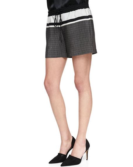 Printed Silk Drawstring Shorts