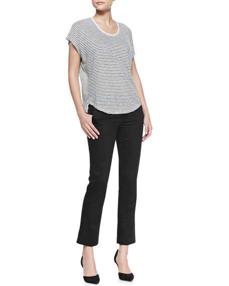 Cropped Flare-Cuff Twill Trousers, Black