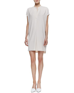 Vince Short-Sleeve Popover Dress, Beige