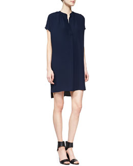 Vince Short-Sleeve Popover Dress, Deep Indigo
