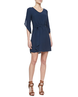 Diane von Furstenberg Tanna Silk Petal-Sleeve Dress