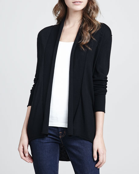Wren Long-Sleeve Cardigan, Caviar