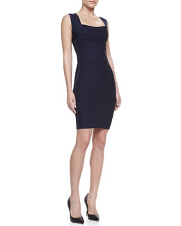 Herve Leger Square-Neck Bandage Dress