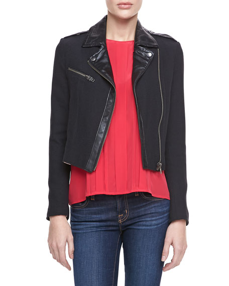 Tommi Faux-Leather Trim Moto Jacket, Caviar