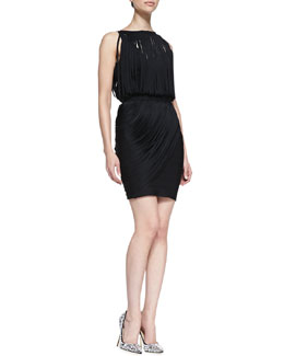Herve Leger Boat-Neck Draped Fringe Dress
