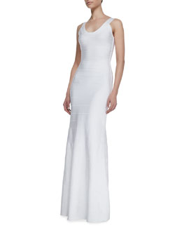 Herve Leger Combo Scoop-Neck Long Gown