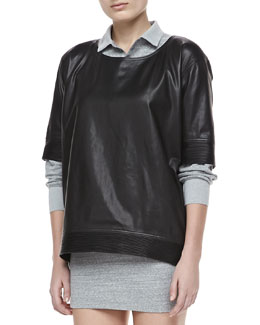 Theyskens' Theory Bascal Short-Sleeve Leather Top